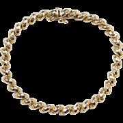 """Vintage 14k Gold Hammered San Marco / Macaroni Link Bracelet ~ 7"""""""