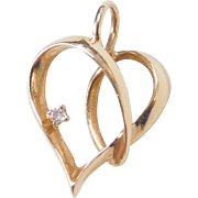 Vintage 14k Gold Diamond Heart Pendant / Charm