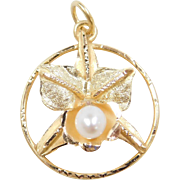 Vintage 18k Gold Cultured Pearl Flower Pendant