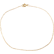Vintage 14k Gold Thin Cable Link Bracelet ~ 7""