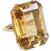 Vintage 14k Gold 41.34 Carat BIG Citrine Ring