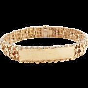 "Vintage 14k Gold Heavy Nugget ID Bracelet ~ 8 1/2"" ~ 55.1 Grams"