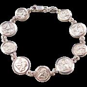 "Sterling Silver Angel / Cherub Bracelet ~ 7 1/4"""