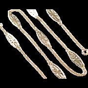 """Vintage 18k Gold Station Necklace ~ 16 1/2"""" ~ 3.1 Grams"""