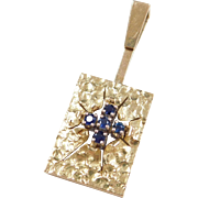 Vintage 18k Gold Big Sapphire Pendant