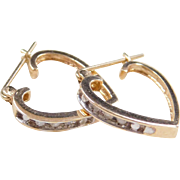 Vintage 14k Gold Diamond Heart Hoop Earrings