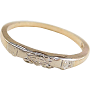 Vintage 14k Gold Two-Tone Wedding Band Ring with Design
