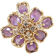 Vintage 14k Gold Amethyst and Diamond Ring