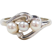 Vintage 10k White Gold Cultured Pearl Ring
