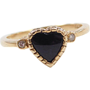 Vintage 14k Gold Black Onyx Heart and Diamond Ring