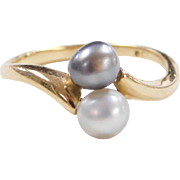 Vintage 18k Gold Cultured Pearl Bypass Ring