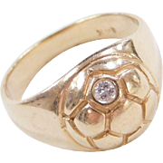 Vintage 14k Gold Soccer Ball Ring with Diamond Accent