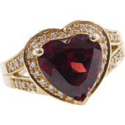 Vintage 14k Gold Garnet Heart and Diamond Ring