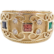 Vintage 14k Gold Ornate Pink Tourmaline, Emerald, Sapphire and Diamond Ring
