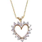 """Vintage 14k Gold Diamond Heart Necklace ~ 18"""""""