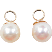 Vintage 14k Gold Cultured Pearl Earring Jackets