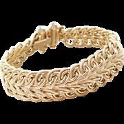 """Vintage 14k Gold Wide Woven Bracelet ~ 7 1/2"""""""