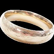 """VIntage 14k Gold WIDE Etched Bangle Bracelet ~ 7"""""""