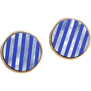 Vintage 14k Gold Big Mother of Pearl and Lapis Stud Earrings