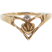 Vintage 14k Gold Diamond Heart Ring