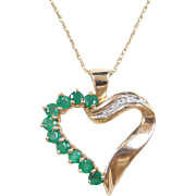 Vintage 10k Gold Emerald and Diamond Heart Necklace ~ 18""