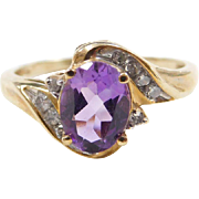 Vintage 10k Gold Amethyst and Diamond Ring