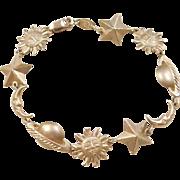 "Vintage 10k Gold Celestial Bracelet ~ 6 3/4"""