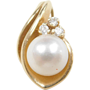 Vintage 14k Gold Cultured Pearl and Diamond Pendant
