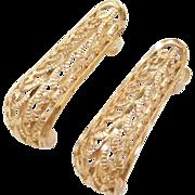 Vintage 14k Gold Filigree Swirl Earrings