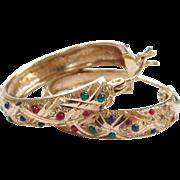 Vintage 10k Gold Colorful Enamel Dot Hoop Earrings