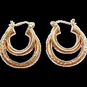 Vintage 10k Gold Double Hoop Earrings