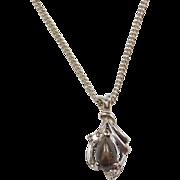 "Vintage 14k White Gold Corundum and Diamond Necklace 18 1/2"""