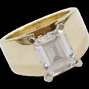 Vintage 14k Gold 4.00 Carat Faux Emerald Cut Diamond Ring