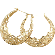 Vintage 14k Gold Ornate Hoop Earrings