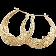 Vintage 14k Gold Ornate Hoop Earrings