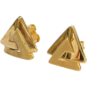 Vintage 14k Gold Triangle Stud Earrings