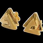 Vintage 14k Gold Triangle Stud Earrings