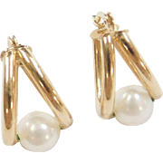 Vintage 14k Gold Cultured Pearl Hoop Earrings