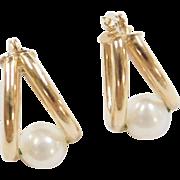 Vintage 14k Gold Cultured Pearl Hoop Earrings