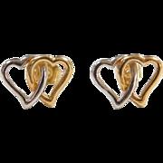 Vintage 14k Gold Two-Tone Double Heart Stud Earrings