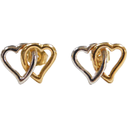 Vintage 14k Gold Two-Tone Double Heart Stud Earrings
