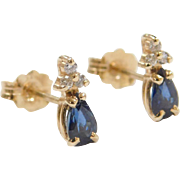 Vintage 14k Gold Sapphire and Diamond Stud Earrings