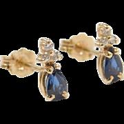 Vintage 14k Gold Sapphire and Diamond Stud Earrings
