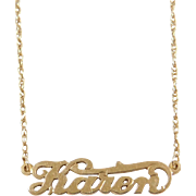 Vintage 14k Gold Karen Nameplate Necklace ~ 18 1/2""