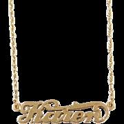 """Vintage 14k Gold Karen Nameplate Necklace ~ 18 1/2"""""""