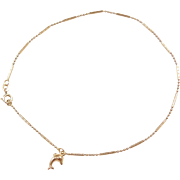 "Vintage 14k Gold Bead Anklet with Dolphin Charm ~ 8 1/2"" or 10"""