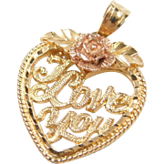 Vintage 14k Gold Two-Tone I Love You Rose Flower Heart Charm / Pendant