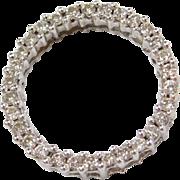 Vintage 10k White Gold Diamond Circle Pendant