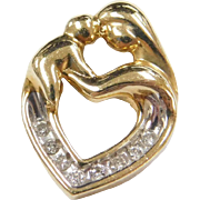 Vintage 10k Gold Diamond Mother and Child Heart Pendant