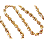 """Vintage 14k Gold Thick Solid Rope Chain ~ 18 1/2"""" ~ Heavy! ~ 79.1 Grams"""